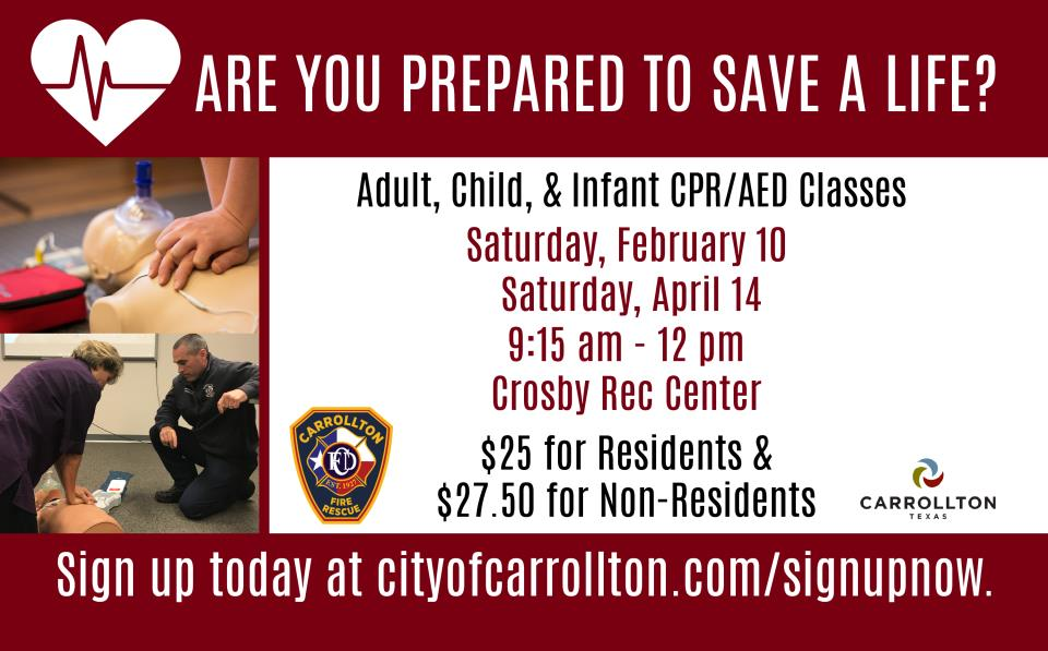 Adult Child Infant Cpraed Class Calendar City Of Carrollton Tx
