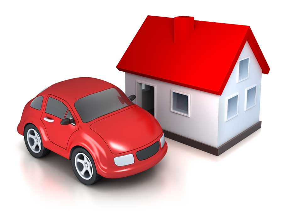 Red Car and House with Red Roof