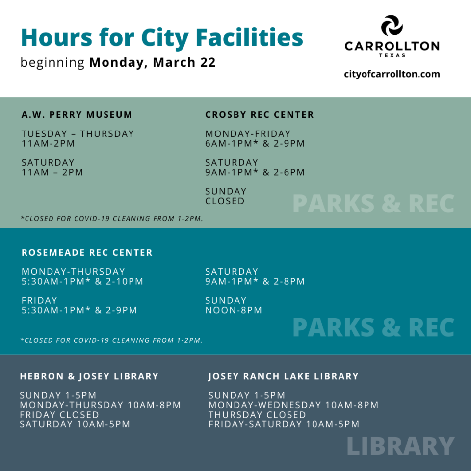 New Hours - Parks & Library