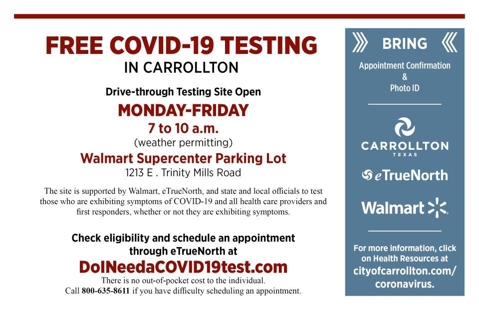 Carrollton S Free Drive Through Covid 19 Testing Site Updates Hours Location Latest City News City Of Carrollton Tx