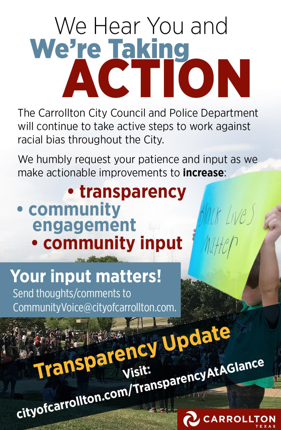 Take Action flyer Transparency Update