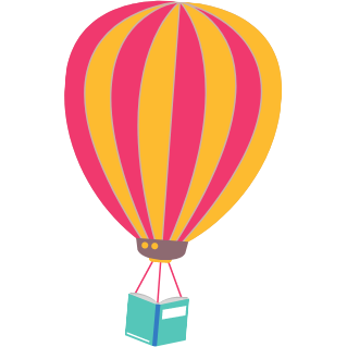 hot air balloon with book basket