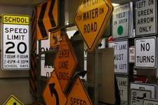 Multiple traffic signs at the City sign shop