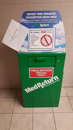 prescription drug drop off box at Carrollton jail lobby