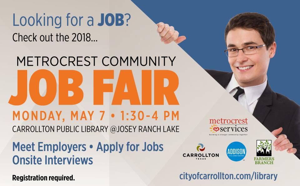 Metrocrest Community Job Fair Monday, May 7 1:30-4 pm